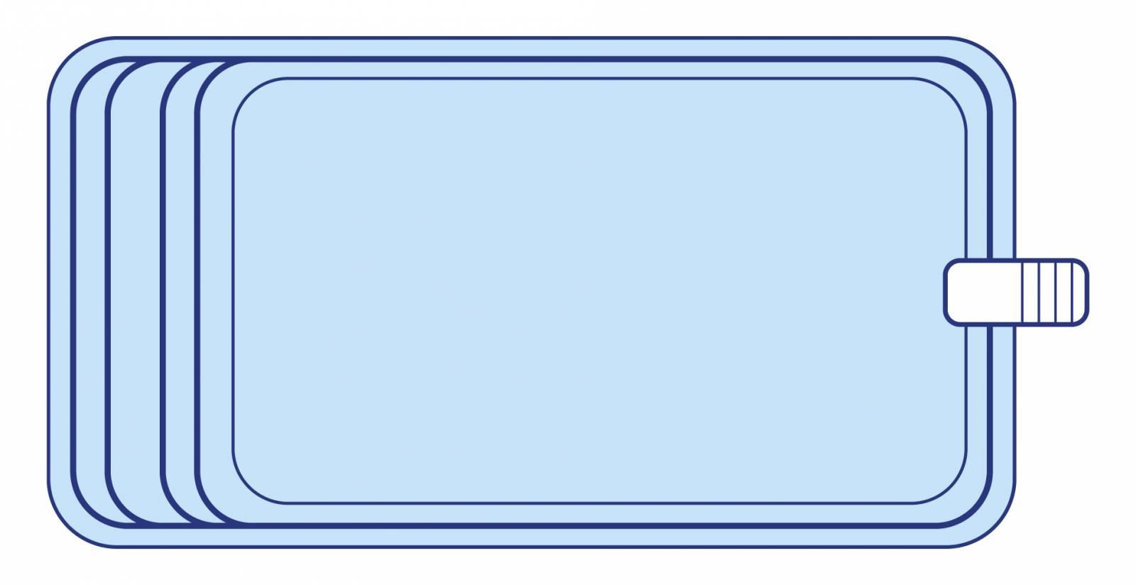 Piscine coque polyester rectangulaire 7x4 environ avec banquette declic r700 bf piscine en ligne for Piscine bois 7x4