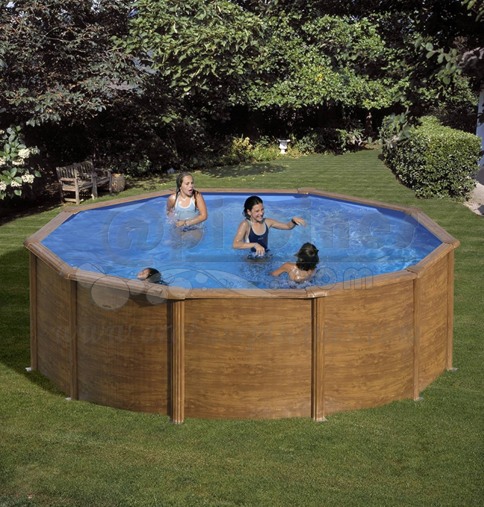 Piscine en kit hors sol acier immitation bois 3 50m de for Piscine 3m de diametre