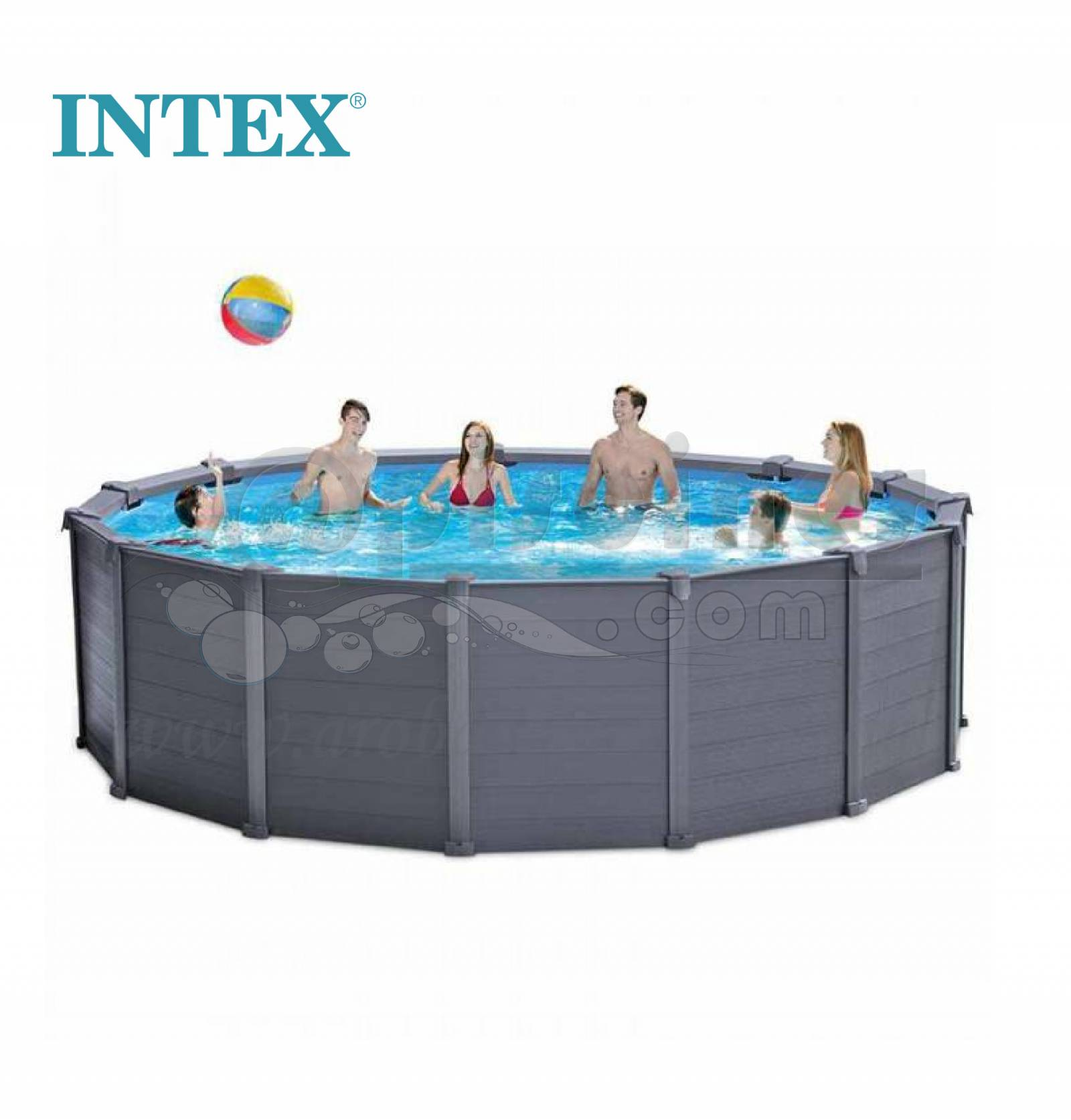 Piscine tubulaire hors sol ronde 4 78m intex graphite for Piscine tubulaire pas chere