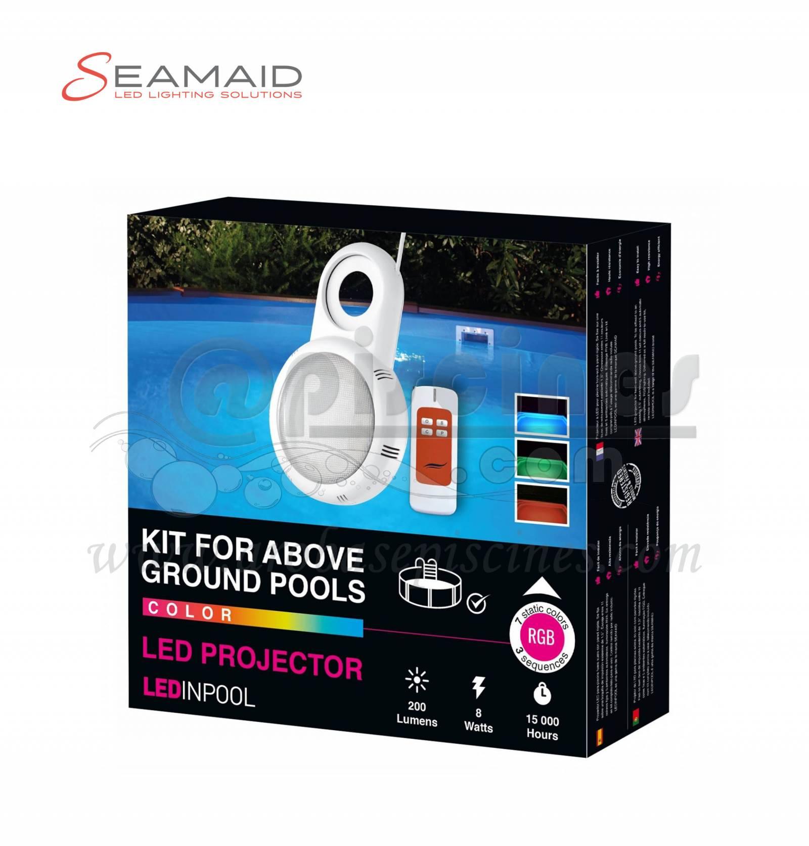 Projecteur 36 led couleur avec telecommande pour piscine for Projecteur led seamaid pour piscine hors sol