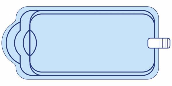 Piscine coque polyester 7X3 avec escalier roman et banquette DECLIC 730 BF