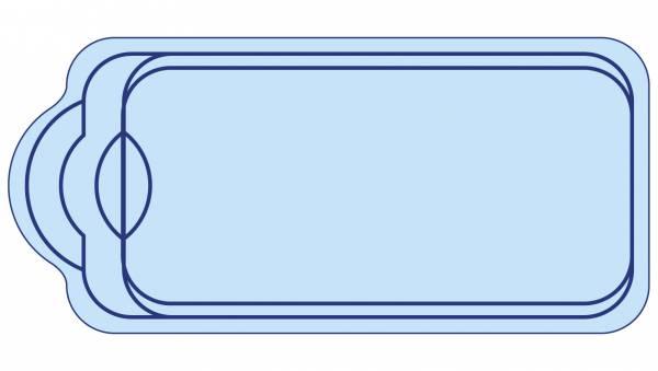 Piscine coque polyester avec banquette et escalier moderne