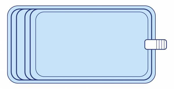 Piscine coque polyester rectangulaire 7X4 environ avec banquette DECLIC R700 BF