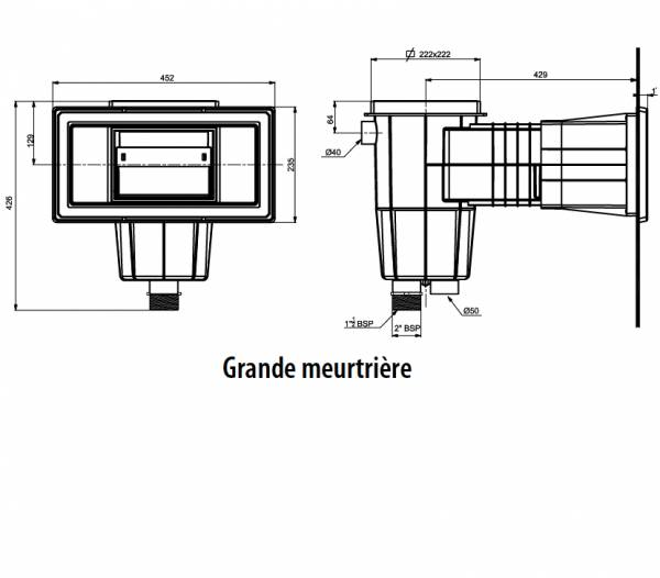 SKIMMER STANDARD 15 LITRES GRIS ANTHRACITE POUR PISCINE LINER/BÉTON
